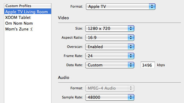 Save time with custom video profiles & presets